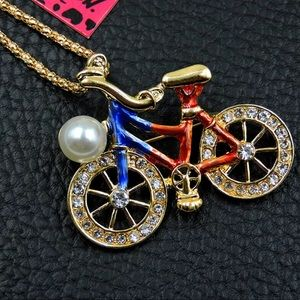 NWT•Betsey Red/Blue bicycle statement necklace